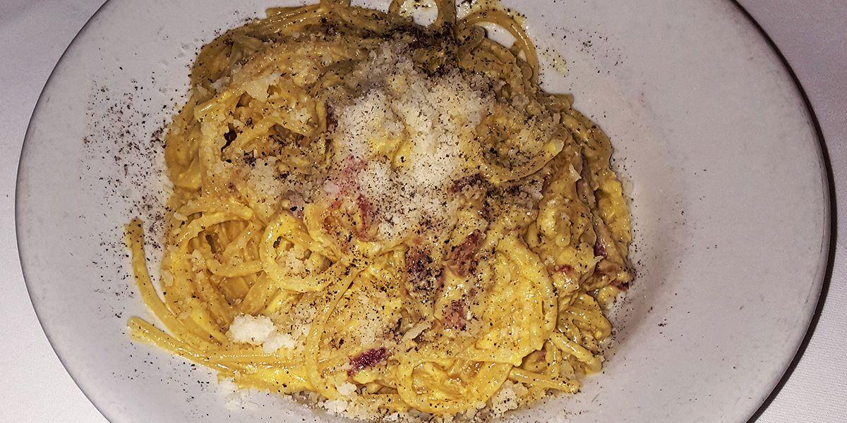 Pasta carbonara at Trattoria Micci
