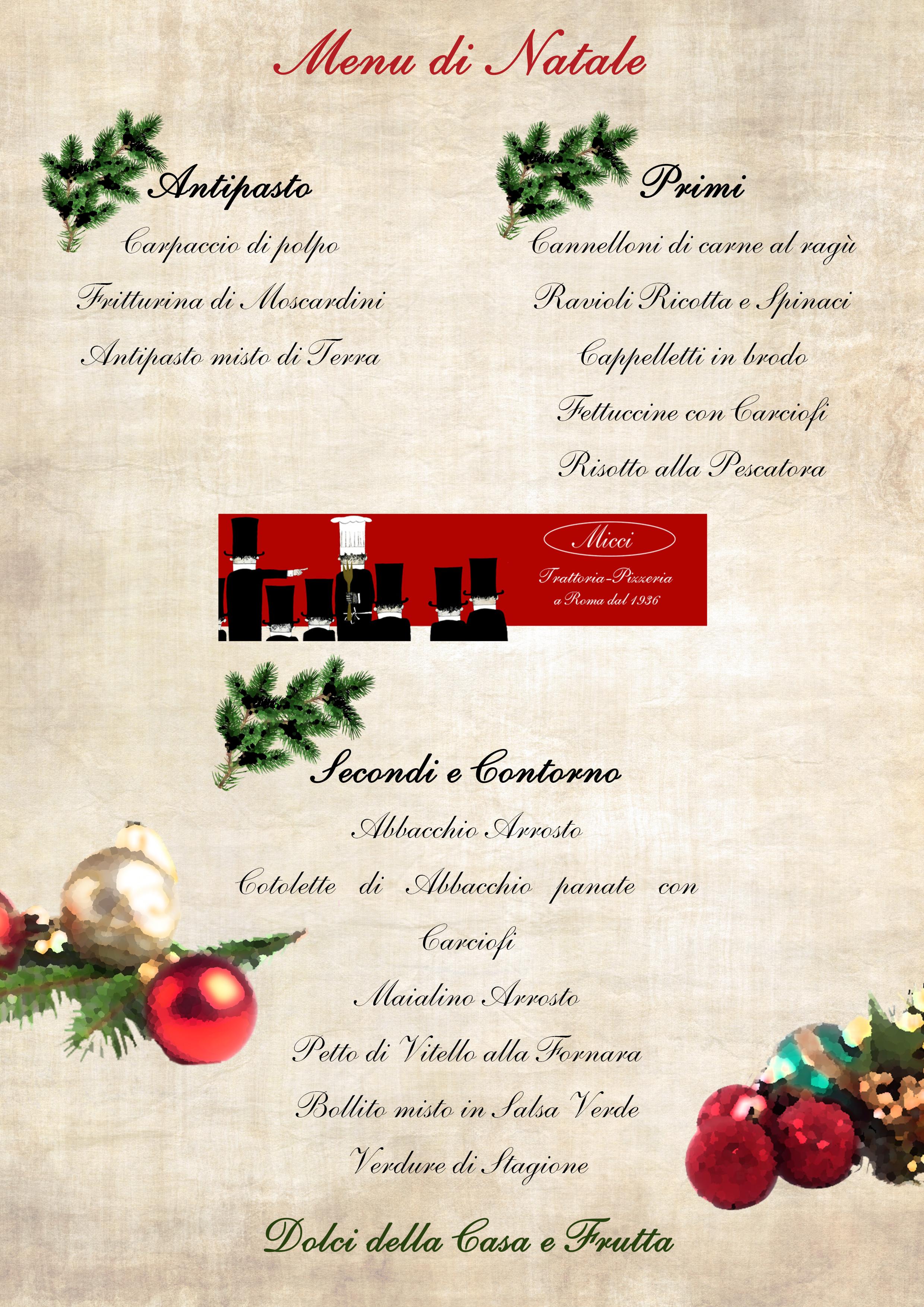 Menu Di Natale Per Due.Menu Di Natale La Proposta Di Trattoria Micci Per Il 25