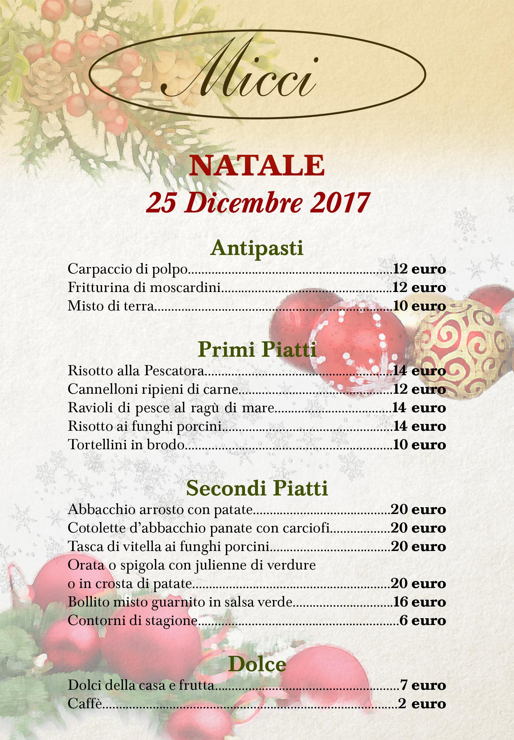 Menu Di Natale A Roma.Menu Pranzo Di Natale 2017 25 Dicembre